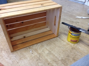 Finishing and staining the crates.  I won't lie, this step took us several days.