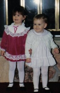 Me and my sister.  I'm the little one on the right.  She, by the way, is a full-on extrovert.