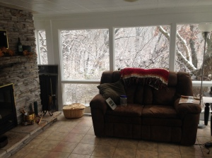 The sunroom after the snow.