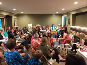 We had roughly fifty guests!  I can't believe that many people fit in my living room.