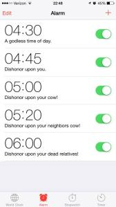 My husband's alarm options.